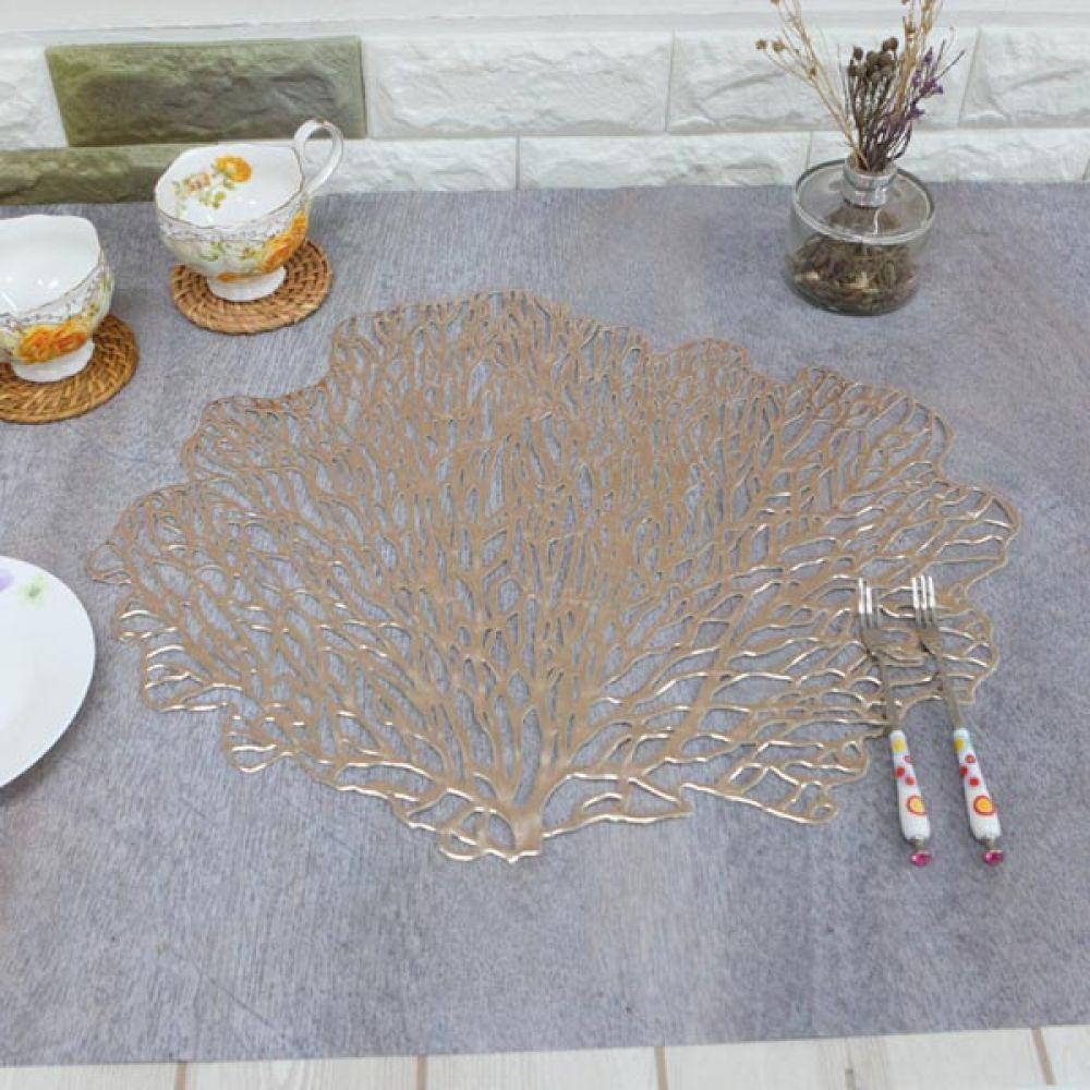 나뭇잎 테이블매트 샴페인 주방용품 예쁜식탁보 예쁜식탁보 주방용품 고급식탁보 예쁜매트 식탁보