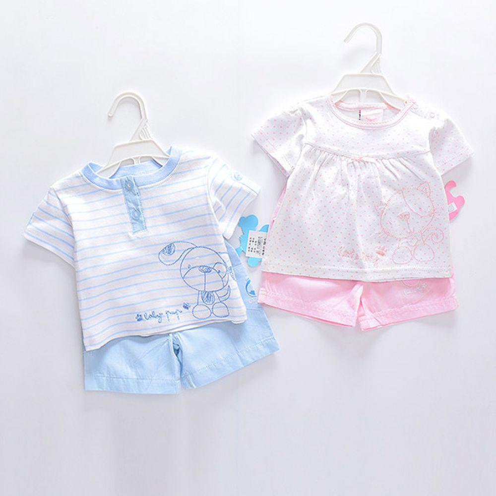핑크캣블루독 반팔 상하복(0-9개월)300086 아기외출복 백일아기옷 아기룸퍼 6개월아기옷 돌아기옷 신생아외출복 베이비롬퍼