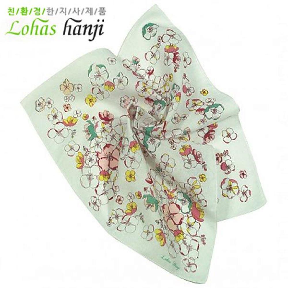 로하스 한지 꽃프린트 손수건 닥나무 원료의 한지를 이용한 섬유 우수한 착용감 따뜻 통기성 닥나무 한지 패션 잡화 자연