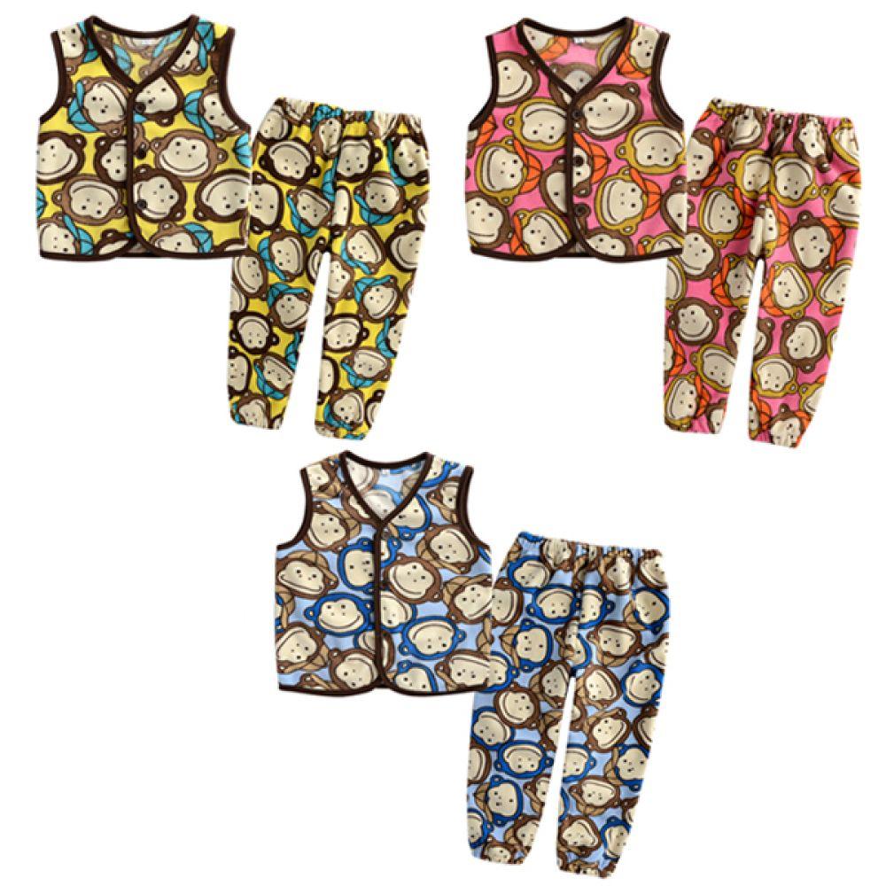 한국생산 원숭이친구들 수면조끼n바지(5-11호) 202963 아기조끼 수면조끼 유아조끼 아기옷 유아옷 가디건 배앓이예방 수면가디건 누빔수면조끼 엠케이 조이멀티