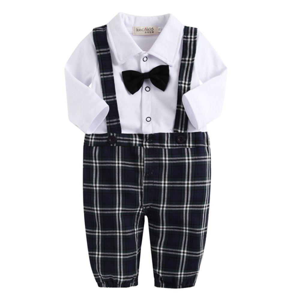 타탄 체크 턱시도 우주복(0-24개월) 300203 아기우주복 롬퍼 룸퍼 바디슈트 아기턱시도 백일복 아기옷 유아옷 신생아옷 유아복 돌복 아기정장