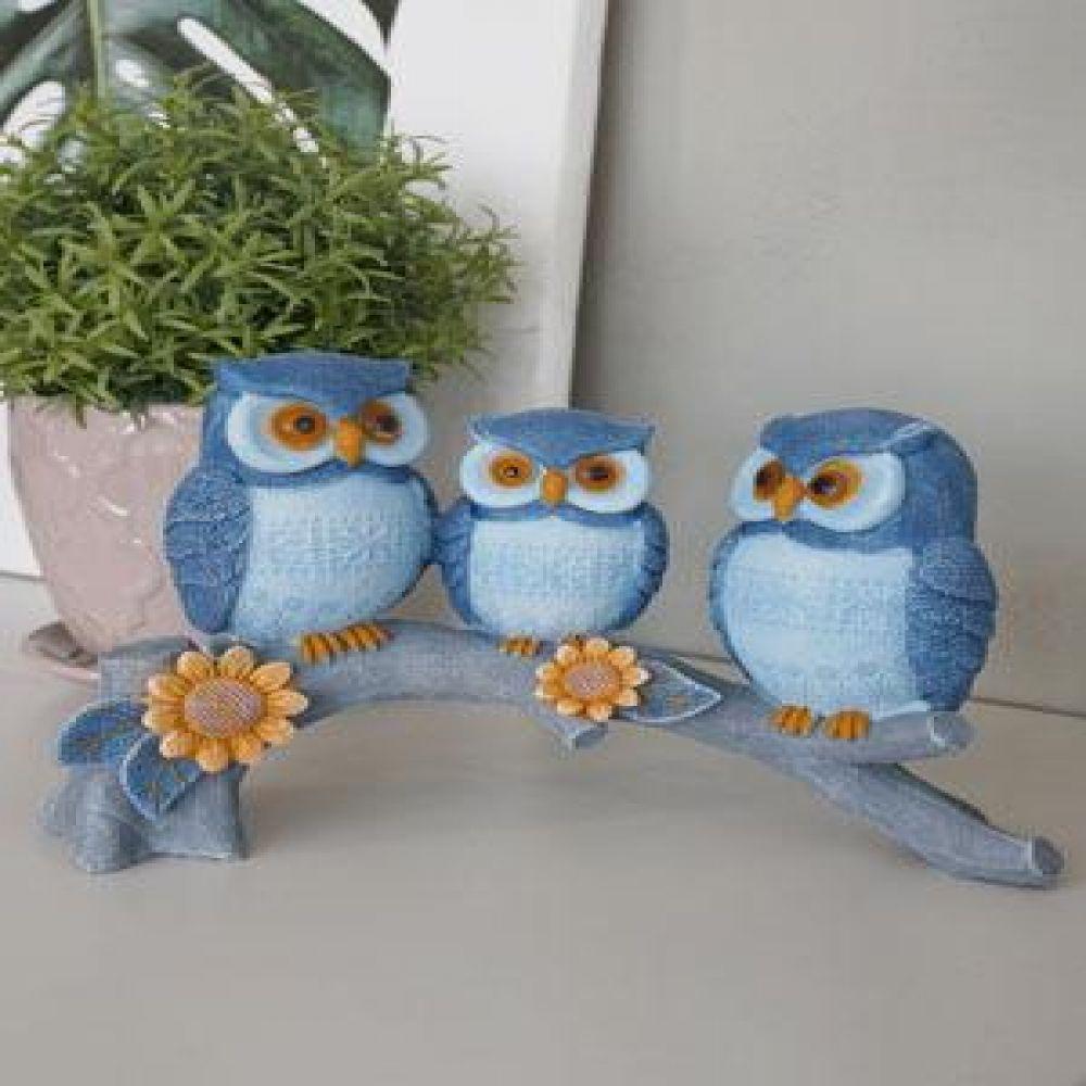 나뭇가지위 블루 부엉이 가족 (08465) 인테리어소품 장식소품 장식인형 도자기소품 부엉이소품