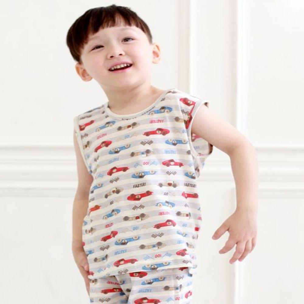 15여름 무형광 나시 경주차 유아복의류 내복 실내복 잠옷 나시