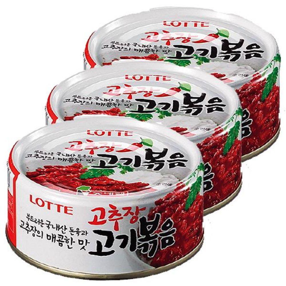 롯데)고추장 고기볶음 95g x 12개 국내산 돼지고기 매콤한 고추장 매콤 깡통 통조림 캔 돈육 돼지