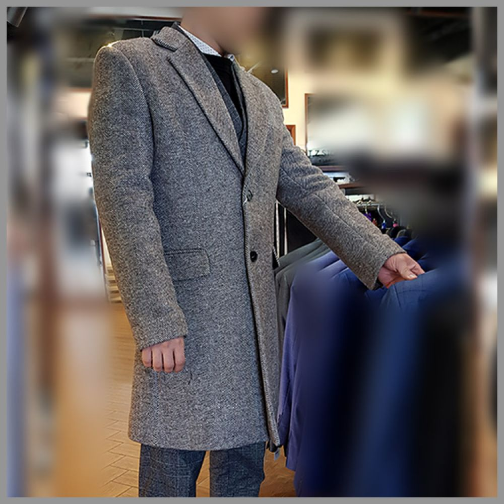 젠틀안트 그레이 해링본 싱글 코트 GR-C2059 코트 트렌치코트 울코트 정장코트 양복코트 싱글코트