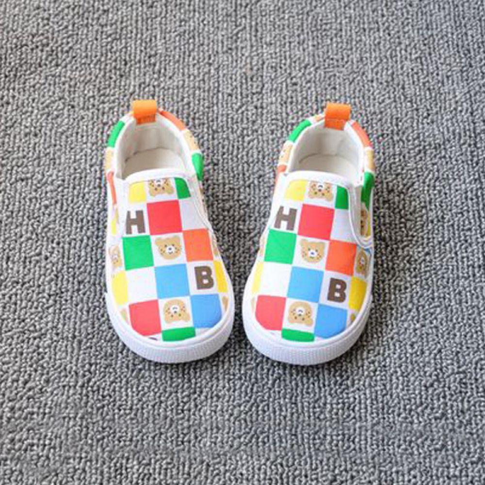 아기곰 컬러풀 네모 유아신발(130-170mm) 901305 아기신발 유아신발 슬립온 걸음마 아동화 베이비신발 삑삑이신발 보행기신발신생아신발