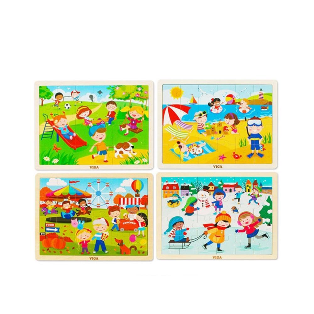 선물 유아 어린이 놀이 사계절 퍼즐 4종세트 조카 퍼즐 블록 블럭 장난감 유아블럭