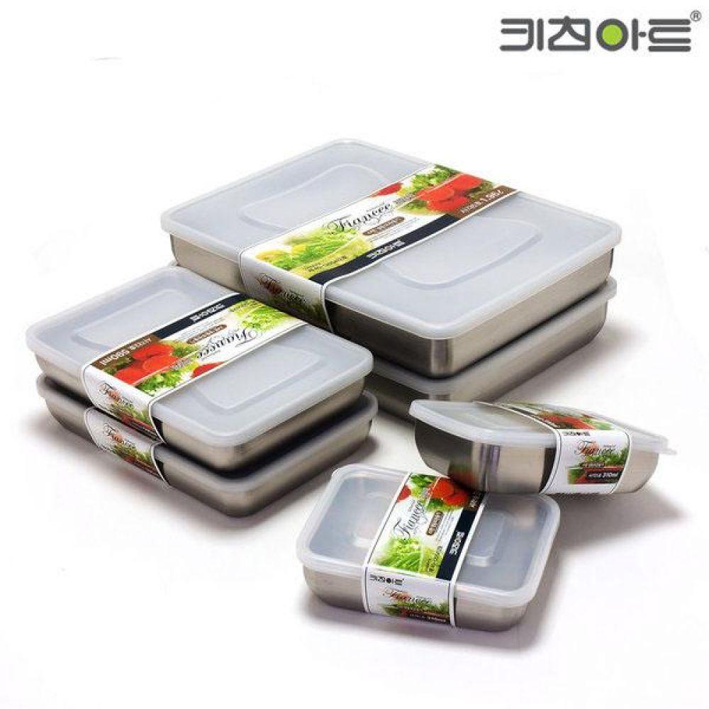피앙세 냉동용기 스텐 27종 케이스 (6종 세트) 보관용기세트 스테인리스용기 밀폐용기 키친아트 주방용품