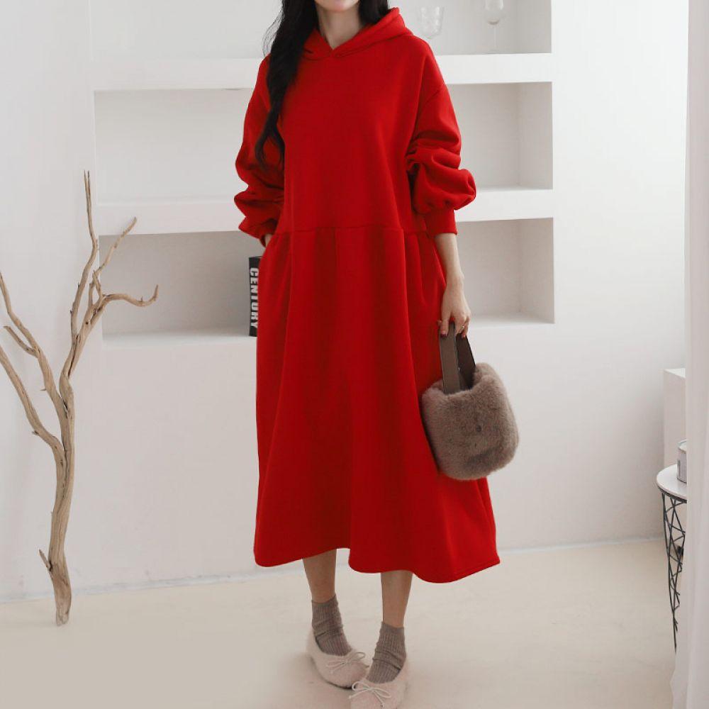 후드 원피스 1044852 DRESS 면원피스 블랙 Black 오트밀 Oatmeal 레드 Red 캐주얼