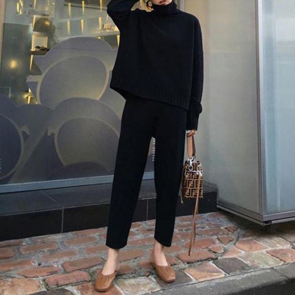 캐주얼 폴라니트_바지 투피스세트 2컬러 여성옷 투피스세트 니세트 니트투피스 바지투피스 코디세트 투피스 겨울투피스 여성투피스