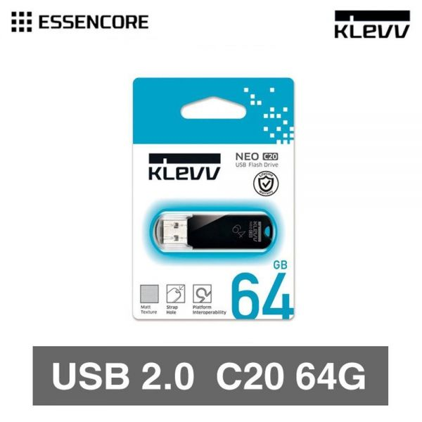KLEVV USB 2.0 메모리 64GB USB메모리 휴대용 USB 외장 메모리