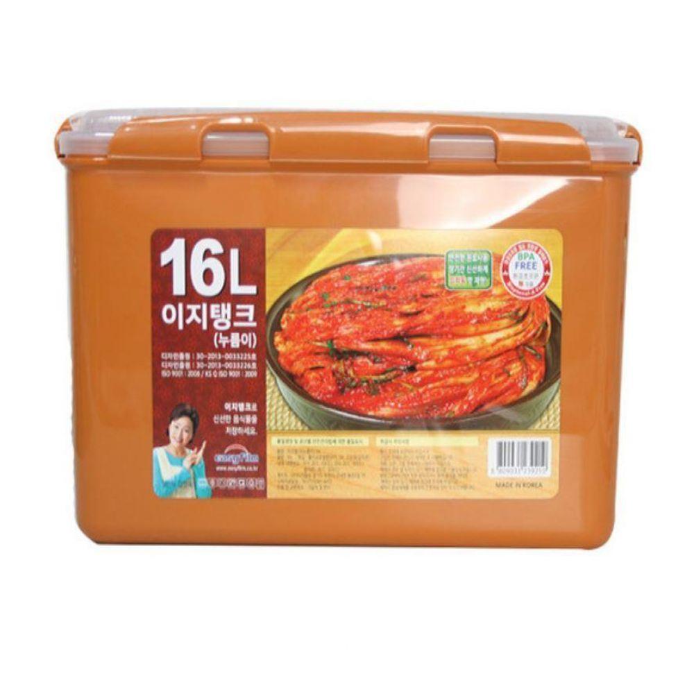 황토 이지탱크 누름이 김치통16L 김장 밀폐 보관 용기 냉장고