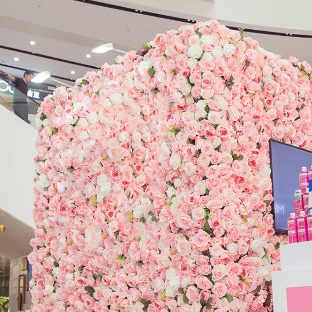 열매 60x40cm 핑크 꽃장식 조화 조화벽장식 포토월 꽃벽 벽인테리어 장미조화 조화벽장식 꽃매트
