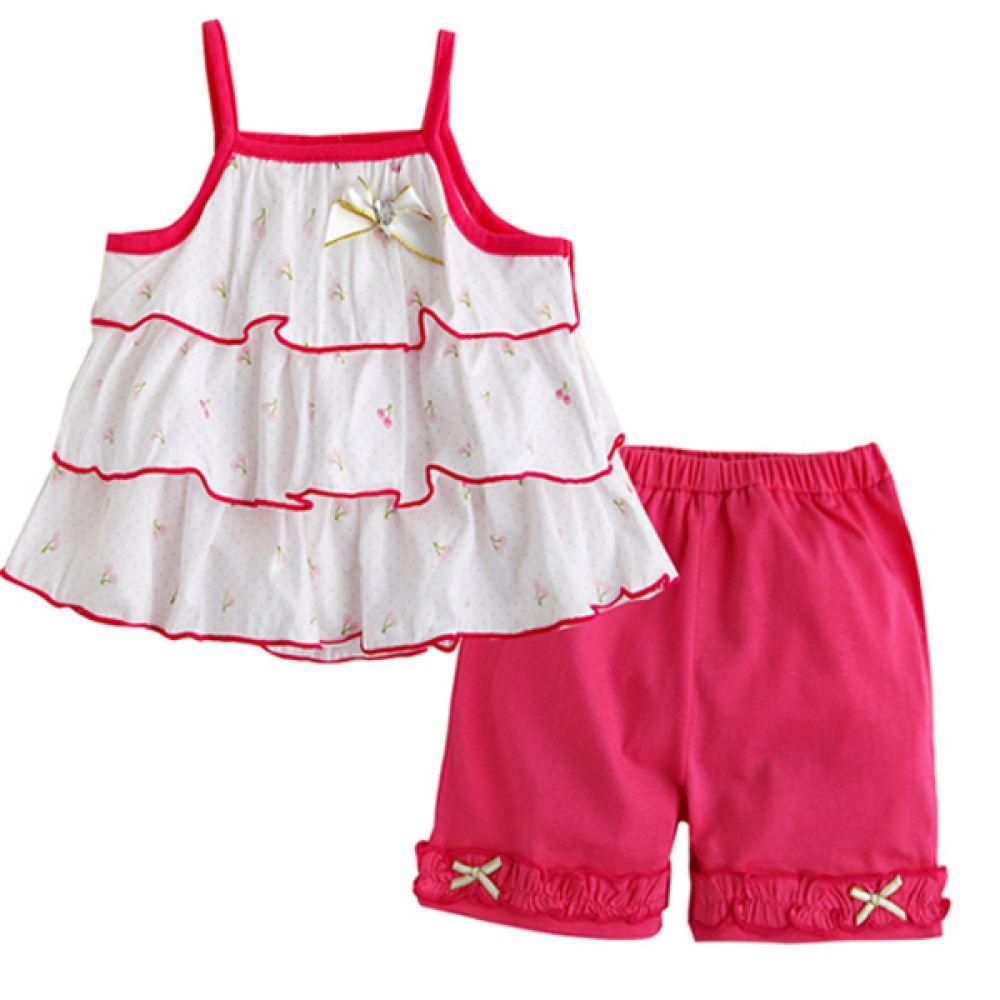 한국 리본 프릴 체리 상하복 핑크 (0-24개월) 202119 아기옷 백일 돌복 유아옷 외출복