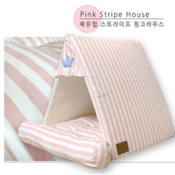 북유럽 스트라이프 하우스 - 핑크 애완용품