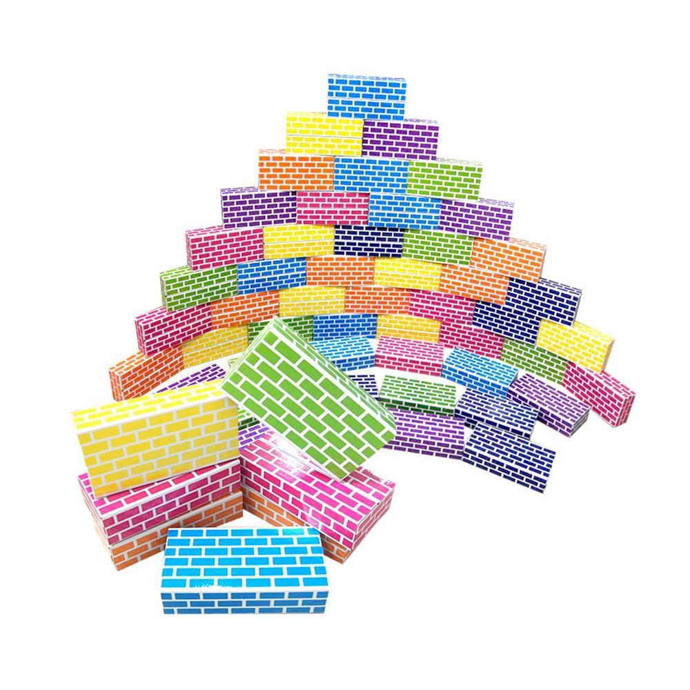 중형 어린이집 유치원 장난감 무지개 종이 벽돌 50p 퍼즐 블록 블럭 장난감 유아블럭