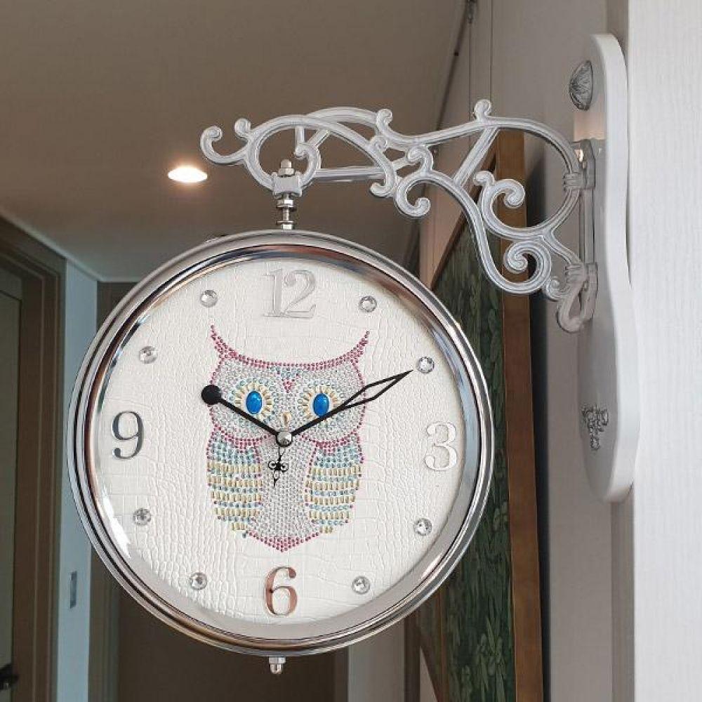 스위트 부엉이 무소음 양면시계 (아이보리) 양면시계 양면벽시계 벽시계 벽걸이시계 인테리어벽시계