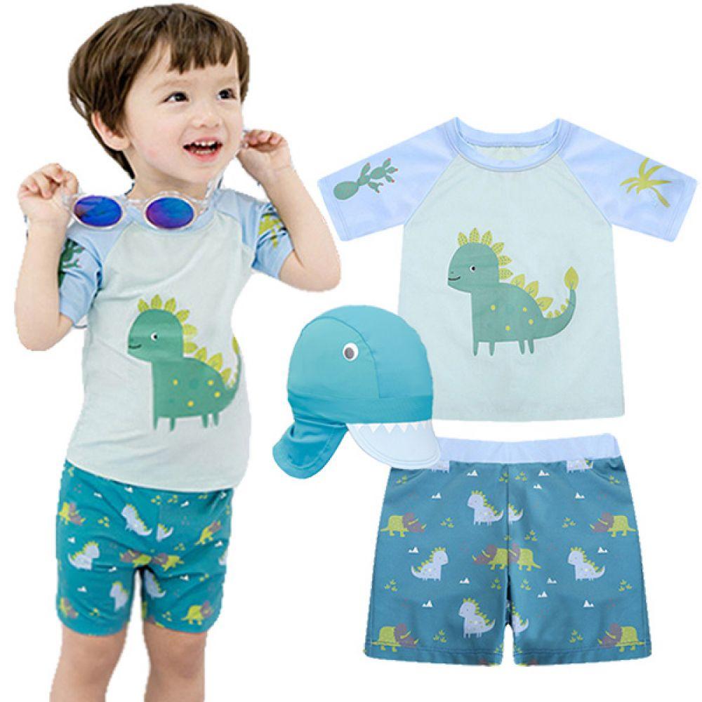 공룡 친구들 래쉬가드 3종세트(1-6세) 700032 아기수영복 유아수영복 아기래쉬가드 유아래쉬가드 수영복 래쉬가드 물놀이옷 여름바캉스