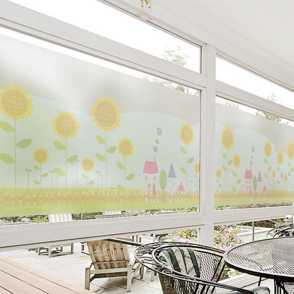 무점착유리시트지 dmih239_m 해바라기꽃이피어있는정원 창문시트지 글라스시트지 유리창시트지 무점착시트지 유리시트지