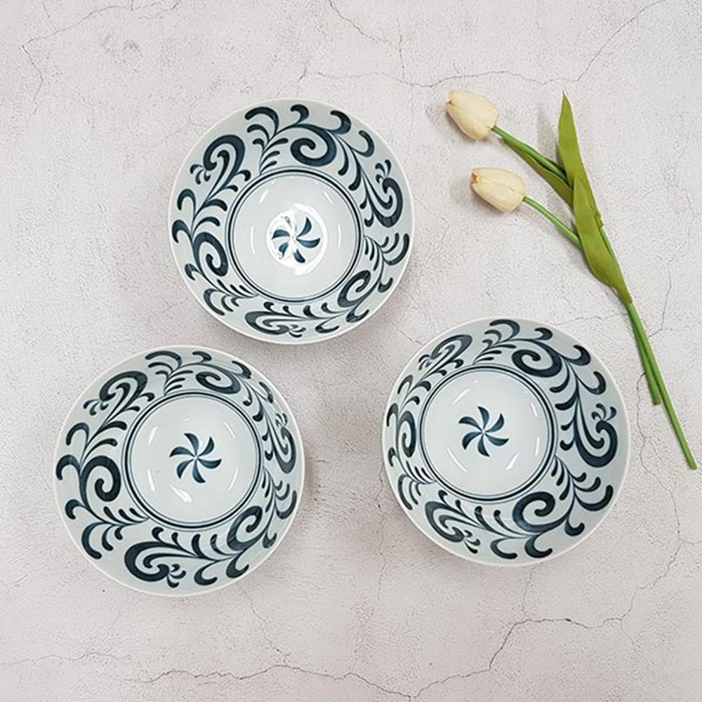 카라쿠사 우동기 3P 예쁜그릇 면그릇 주방용품 식기류 그릇 일본면기 식기류 국그릇 면기