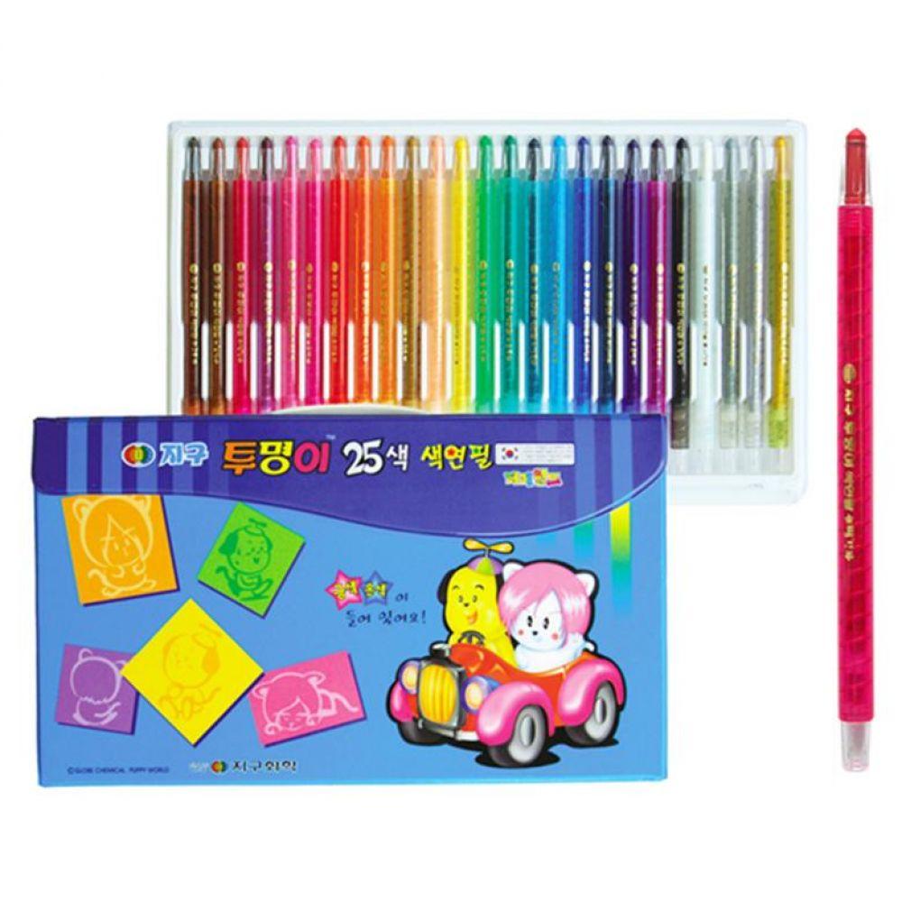 12000 지구 투명이 색연필 25색 (샤프식) 색연필 색연필세트 미술준비물 미술용품 어린이선물 유치원선물 어린이집선물 초등학교선물 초등학생선물