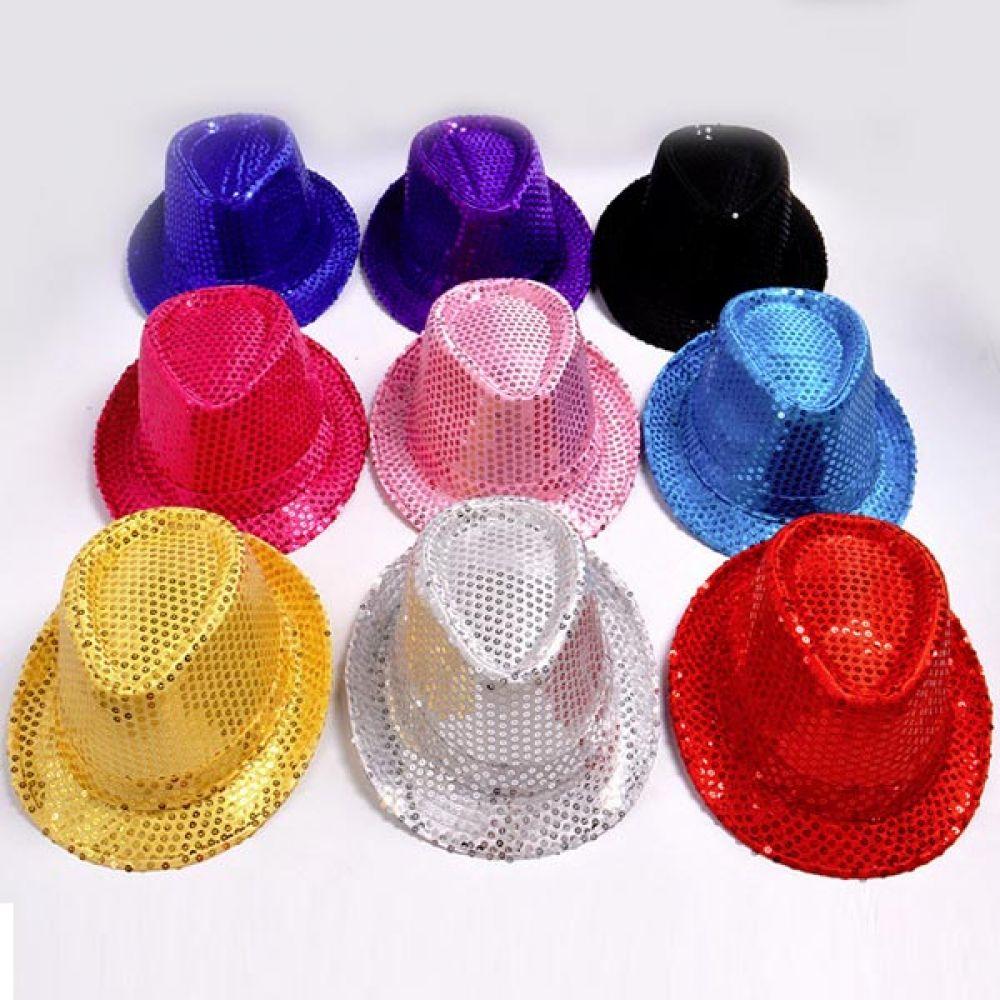 스팡클 모자 소 핑크 무대모자 반짝이모자 중절모 반짝이모자 중절모 무대모자 모자 스팽글모자