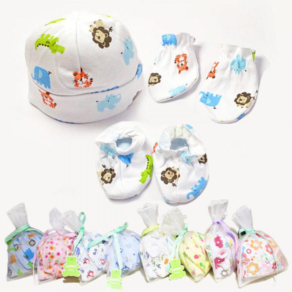 모자n손발싸개 3종2세트 선물주머니 500032 모자 손싸개 발싸개 선물세트 아기용품 출산선물 신생아용품 베이비용품 조이멀티 엠케이