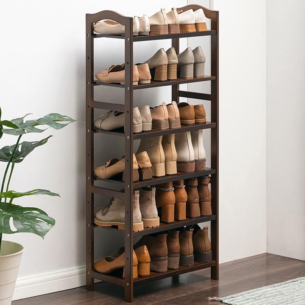 6단 대나무 신발장 다크브라운 51cm 신발정리함 신발장 수납함 다용도수납장 신발정리함 진열장