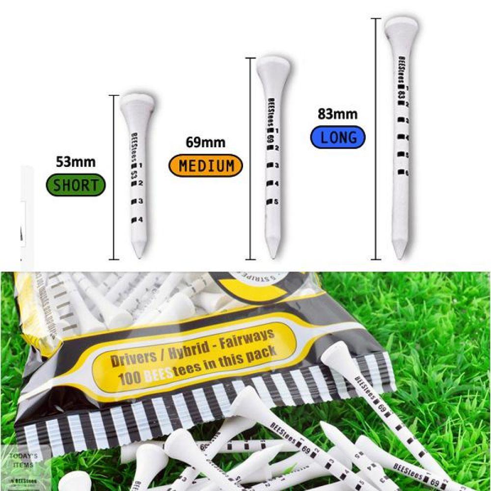 비즈 골프티(대용량) 비거리 향상 안정된 스윙의 필수품 나무티 마디별 높이 조절 가능 골프 용품 연습 패션 필드