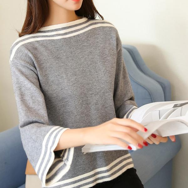 귀여운 나팔소매 포인트 그레이톤 보우트넥 니트 니트티 가디건 목폴라 루즈핏 반폴라 블라우스 남방 나시 여성베스트 셔츠