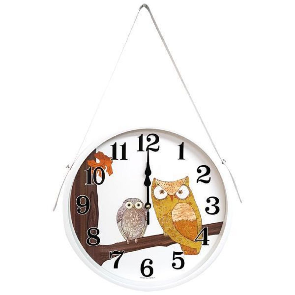 GB4570 메탈 부엉이 무소음 가죽 벽시계 화이트 제조한국 벽시계 가죽벽시계 인테리어시계 무소음시계 부엉이벽시계
