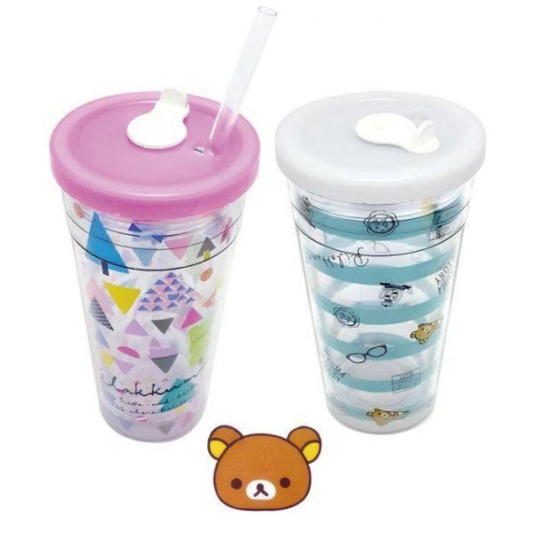 리락쿠마 에코젠빨대컵 500ml 아이스컵 텀블러 빨대컵 이중컵 투명컵