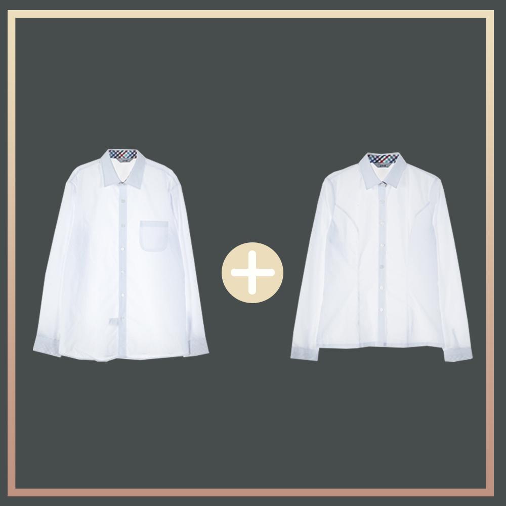 (빅사이즈) 컬러체크 프리미엄 셔츠 원플러스원 교복 교복쇼핑몰 교복몰 여자교복 학생복 남자교복 학생복쇼핑몰 고등학교교복 중학교교복 교복셔츠