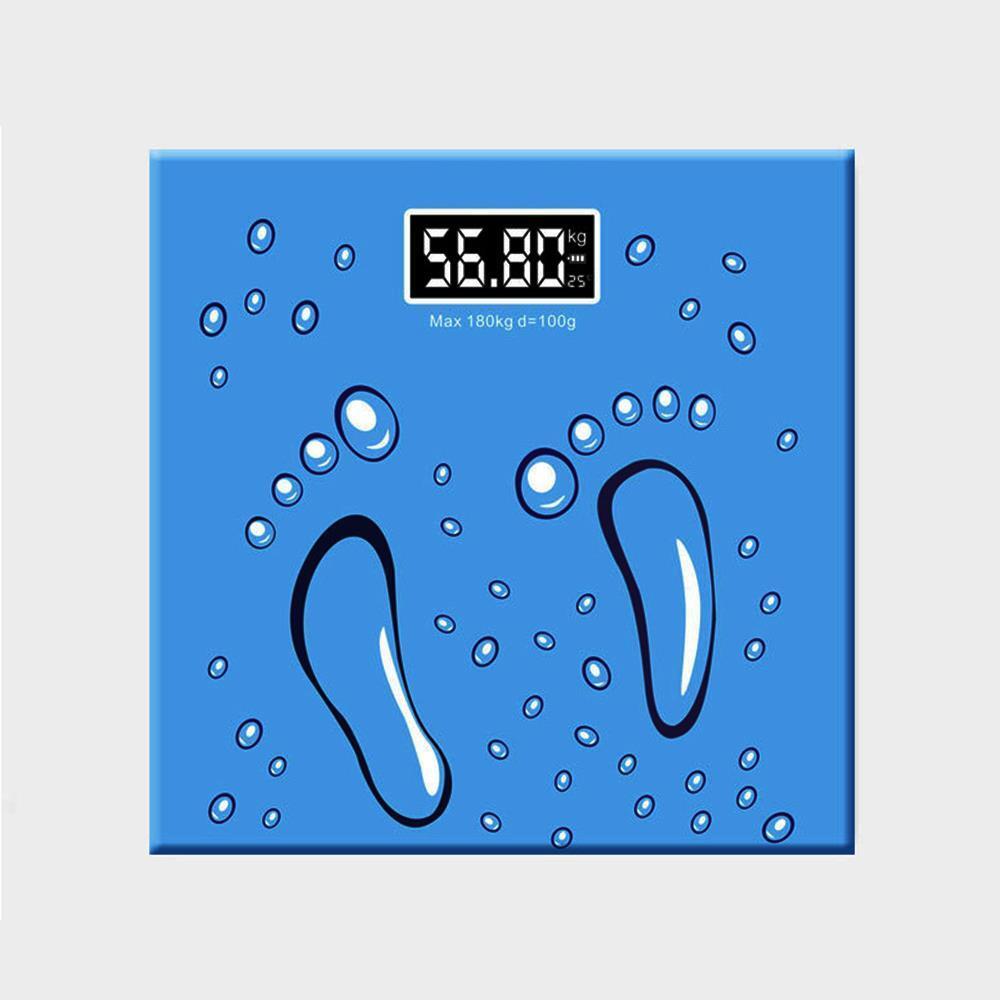 블루 디지털체중계 발자국 사각 체중측정계 건강용품 사각체중계 체중계 체중측정계 전자체중계 디지털체중계
