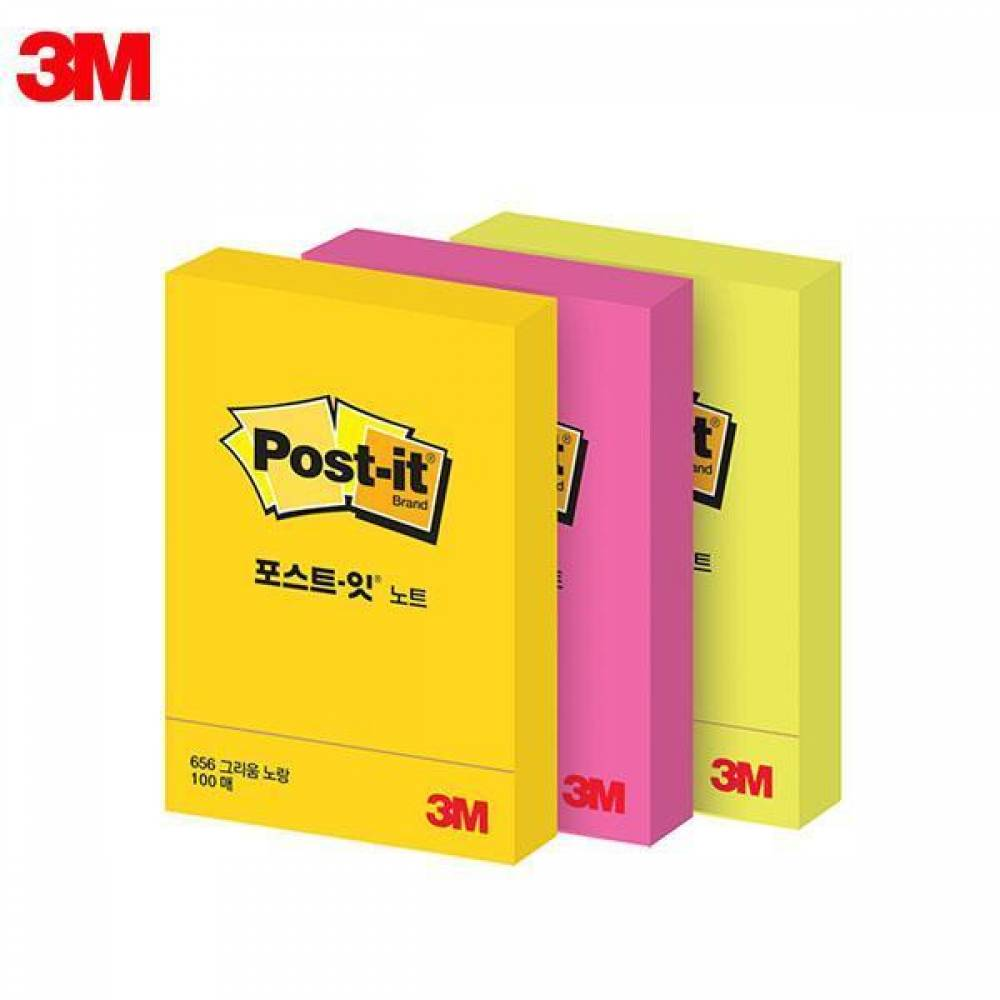 MWSHOP 3M 포스트잇 형광노트 656 (51x76mm) 1패드 메모지 엠더블유샵